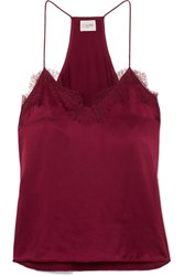 Cami Nyc The Racer Lace Trimmed Silk Charmeuse Camisole Merlot