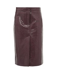 Tibi Crocodile Effect Patent Midi Skirt Burgundy