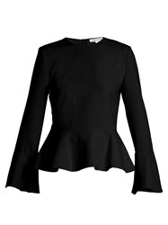 Elizabeth And James Ruthe Round Neck Peplum Top Black White