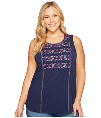 Lucky Brand Plus Size Geo Embroidered Tank Top Medieval Blue Women's Sleeveless Navy