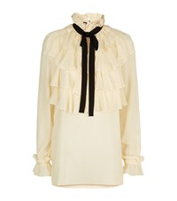 Gucci Ruffle Bow Neck Blouse Female White