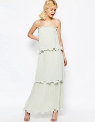 Asos Maxi Dress With Tiered Pleats Soft Green