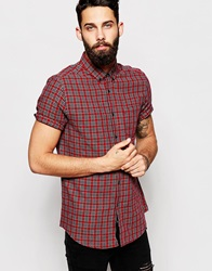 Asos Shirt In Tartan Check With Short Sleeves Red