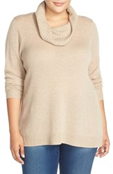 Plus Size Women's Sejour Cowl Neck Wool And Cashmere Sweater Tan Oxford Heather