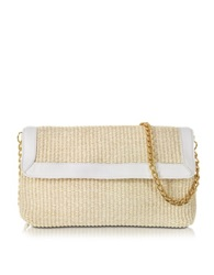 Buti Straw And Leather Clutch W Shoulder Strap White