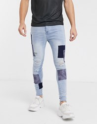 Good For Nothing Skinny Jeans In Light Blue With Bandana Patches