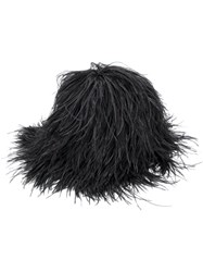Gianluca Capannolo Wig Effect Hat Merino Ostrich Feather Black