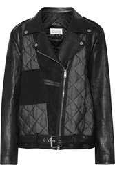 Maison Martin Margiela Leather And Qulited Chiffon Jacket Black