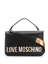 Love Moschino Laminated Logo Shoulder Bag Black