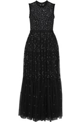 Needle And Thread Clover Sequined Embroidered Tulle Gown Charcoal