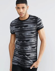 Asos Longline Muscle T Shirt With Glitch Print And Roll Sleeve Black Grey