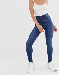 Noisy May High Waisted Skinny Callie Jeans In Mid Blue Wash