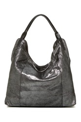 Sondra Roberts Soft Metallic Leather Shoulder Bag Black