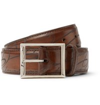 Berluti 3.5Cm Brown Scritto Polished Leather Belt