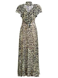 Preen By Thornton Bregazzi Emily Ruffled Floral Print Georgette Gown Navy Print