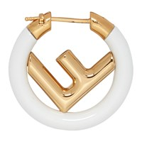 Gold And White 'F Is Fendi' Earring
