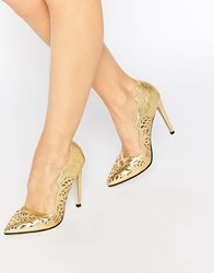 Little Mistress Lucy Cut Out Point Court Shoes Gold
