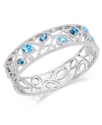 Macy's Multi Topaz 7 Ct. T.W. Filigree Bangle Bracelet In Sterling Silver
