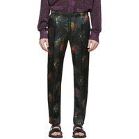 Dries Van Noten Black And Multicolor Floral Perkino Trousers
