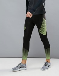 New Look Sport Running Tights With Zip And Print Detail Black
