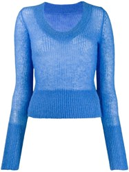 Jacquemus La Maille Dao U Neck Knitter Sweater Blue