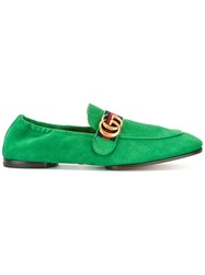 Gucci Gg Vintage Web Loafers Green