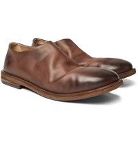 Marsell Burnished Leather Loafers Brown