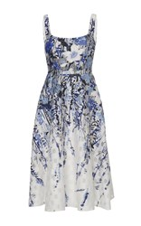 Lela Rose Scoop Neck Bodice Dress Floral