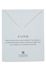 Women's Dogeared 'Reminder Faith' Sideways Cross Pendant Necklace