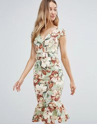Vesper Vintage Floral Midi Dress With Peplum Hem Green Piana