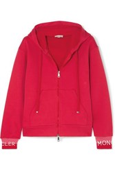 Moncler Intarsia Trimmed Loopback Cotton Blend Jersey Hoodie Red