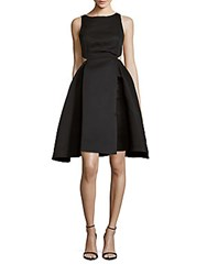 Halston Solid Boatneck A Line Dress Black