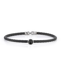 Alor Stainless Steel And Onyx Cable Bracelet 18Kt Wg