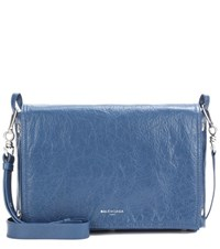 Balenciaga Papier Snap Leather Clutch Blue