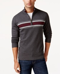 John Ashford Big And Tall Chest Stripe Quarter Zip Sweater Cindersmoke