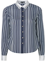 Loveless Embellished Collar Striped Shirt Blue