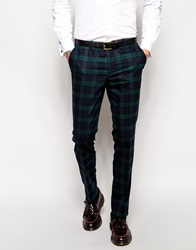 Noose And Monkey Tartan Suit Trousers In Skinny Fit Green
