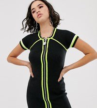 The Ragged Priest Bodycon Mini Dress With Neon Tipping Black