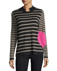 Lisa Todd Striped Mock Neck Sweater Black Cerise