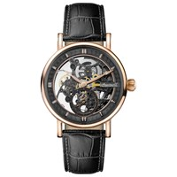 Ingersoll Men's The Herald Skeleton Automatic Leather Strap Watch Black