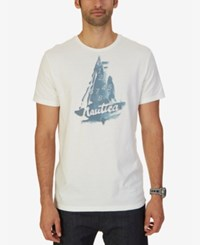 Nautica Men's Abstract Sailboat Graphic Print T Shirt Marshmallow