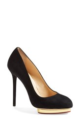 Women's Charlotte Olympia 'Dotty' Platform Pump Black Gold Suede