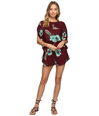 Volcom Fox Tail Palm Romper Merlot Women's Jumpsuit And Rompers One Piece Red