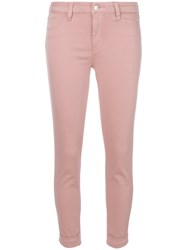 J Brand Cropped Skinny Jeans Pink And Purple