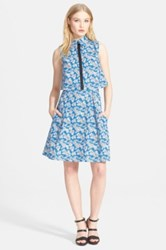 Tanya Taylor 'Florence' Print Stretch Cotton Shirtdress Blue