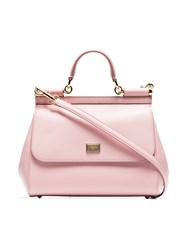 Dolce And Gabbana Pink Sicily Medium Leather Tote Pink And Purple
