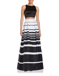 Xscape Evenings Cropped Top And Skirt Set Black White