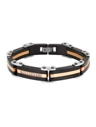 Lord And Taylor Cubic Zirconia Two Tone Bracelet Black