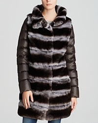 Maximilian Rabbit Fur Coat With Quilted Down Sleeves Brown Purple