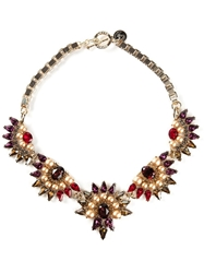 Anton Heunis Crystal Embellished Necklace Pink And Purple